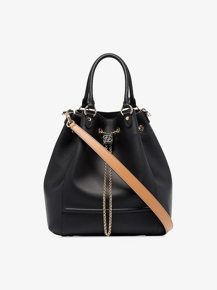 Black chain leather bucket bag - Fendi