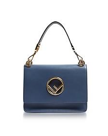 Kan I F Cerulean Blue Leather Shoulder Bag - Fendi