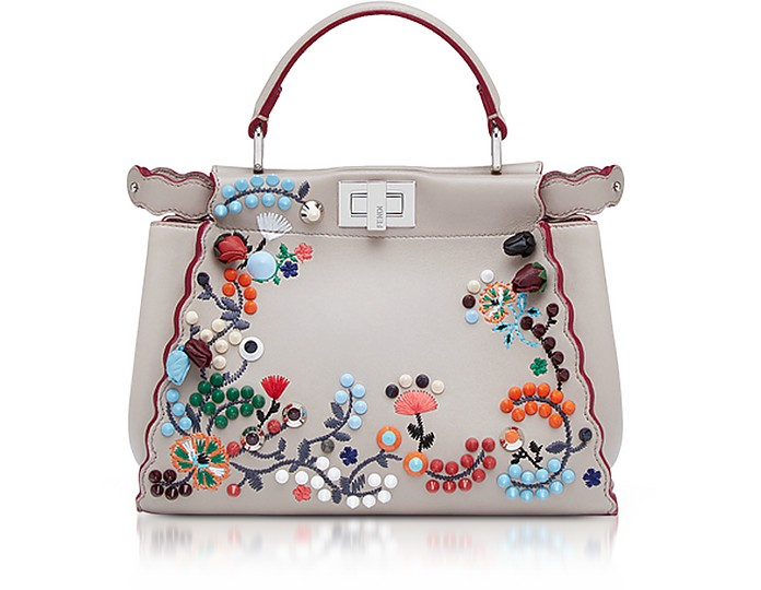 Fendi Peekaboo Boo Embroidered Nappa Leather Tote Bag at FORZIERI aed9897a0263d