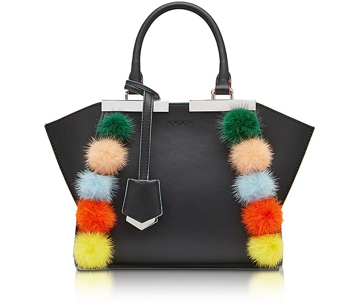 9755ac2e2187 Fendi Black Leather Small 3 Jours Tote Bag w Pom Pom at FORZIERI
