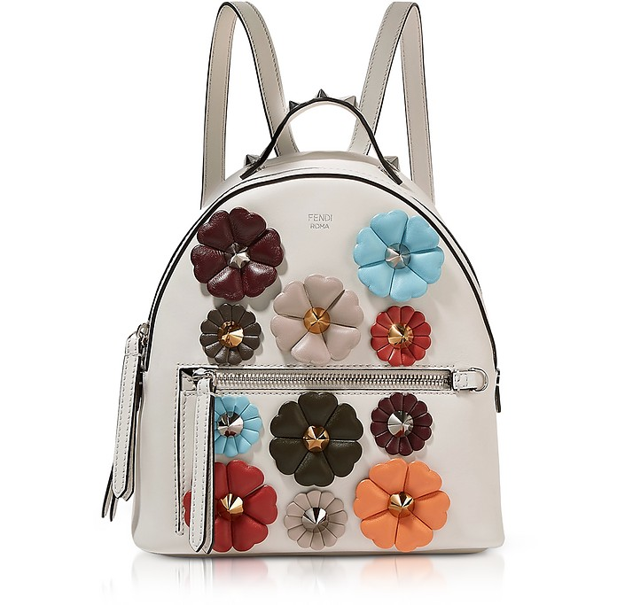 579d18dc3fa2 Fendi Dust Gray Nappa Leather Mini Backpack w Flowers at FORZIERI