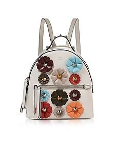 Dust Gray Nappa Leather Mini Backpack w/Flowers - Fendi