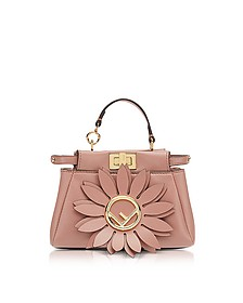 Micro Peekaboo Pink Leather Crossbody Bag w/Flower - Fendi