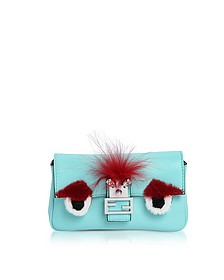 Micro Baguette Turquoise Leather and Fur Crossbody Bag - Fendi
