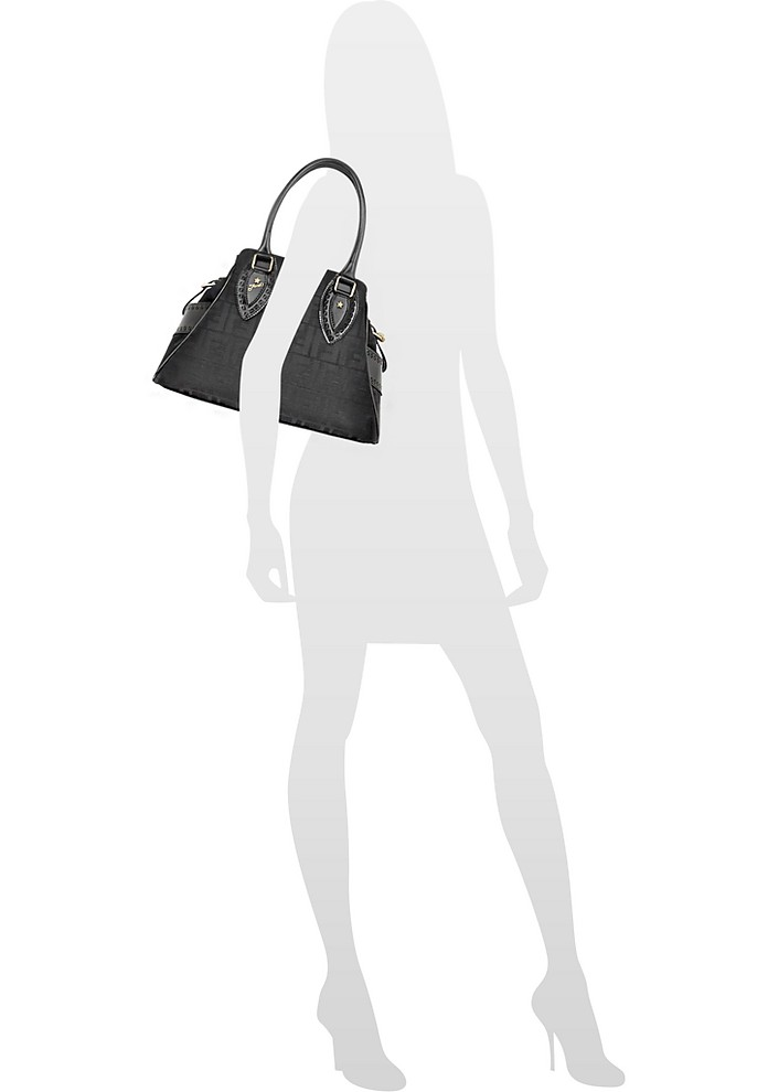 8a0680f655f4 Fendi Black Small Bag De Jour Zucca Canvas Bag at FORZIERI