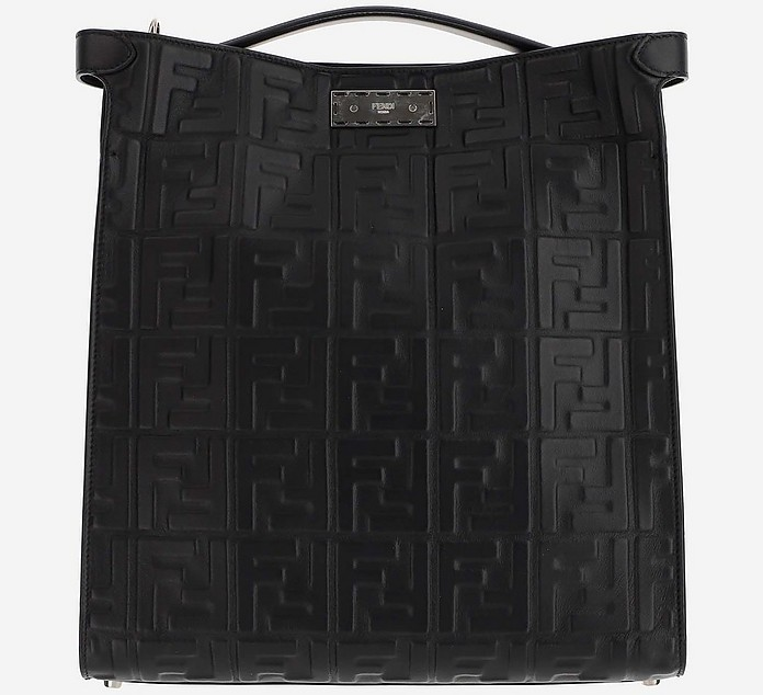 Black Leather Peekaboo X-Lite Fit Bag - Fendi / フェンディ