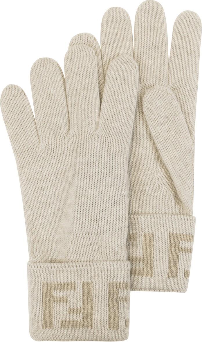 Ivory Zucca Logo Wool Women's Gloves - Fendi