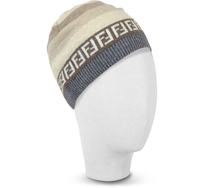 Twitter · Pinterest · Share on Tumblr. Striped Zucca Logo Jacquard Knit  Wool Skull Hat - Fendi e9d05d6cfae