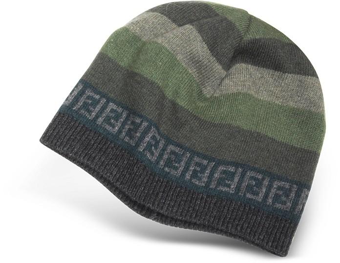 Fendi Gray Striped Zucca Logo Jacquard Knit Wool Skull Hat at FORZIERI c1b041dac88