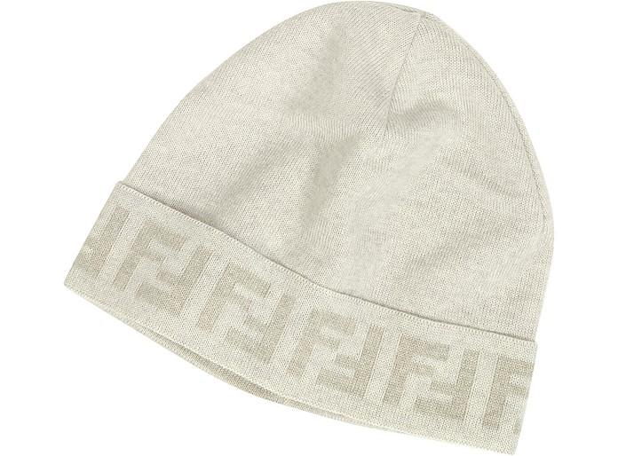 Cappello in Lana Avorio con Logo Zucca Fendi su FORZIERI 864a66eef8a7