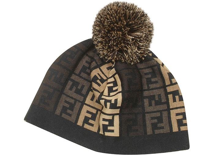 0f8e1805c38fa Fendi Black Logoed Wool Pom Pom Hat at FORZIERI Australia