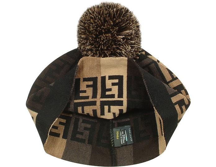 Fendi Black Logoed Wool Pom Pom Hat at FORZIERI Australia b37847a62e9