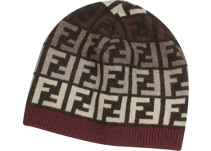 87ca407afa7 Fendi Dark Brown Multicolor Zucca Logo Knit Skull Cap at FORZIERI