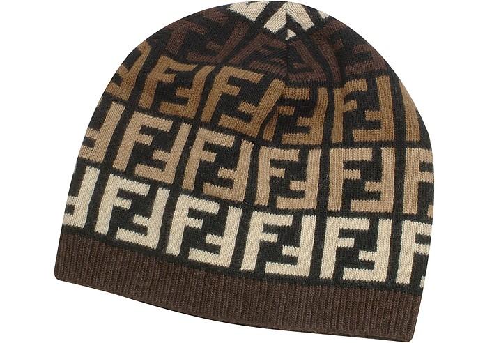 90cf382b1d5 Fendi black brown Multicolor Zucca Logo Knit Skull Cap at FORZIERI