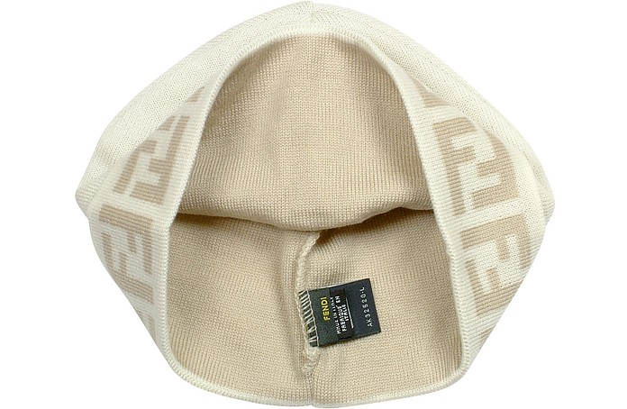 Fendi White Fold-up Brim Zucca Logo Wool Skull Cap at FORZIERI 9fef2fe36b62