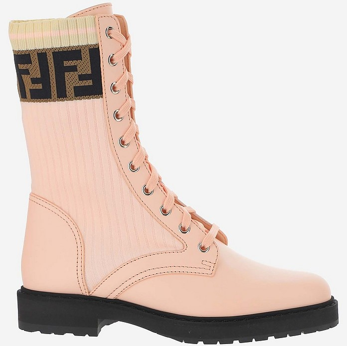 Pink Leather and Fabric Ankle Boots - Fendi