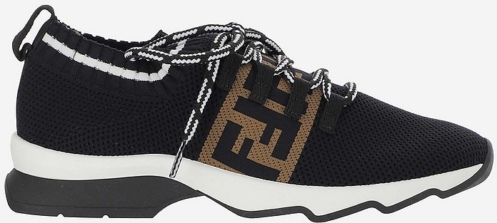 Black Mesh Low-Top Women's Rockoko Sneakers - Fendi