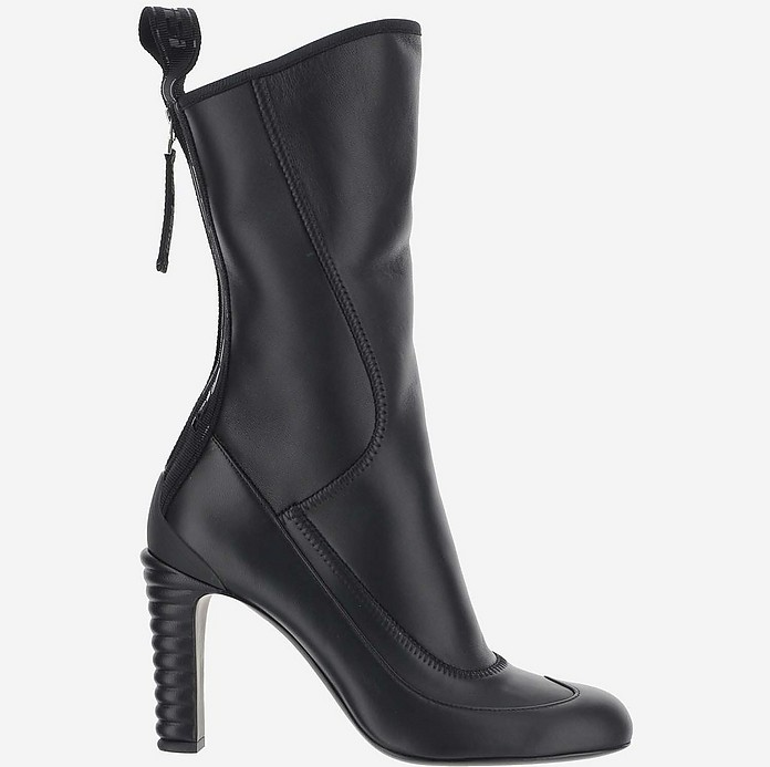 Black Calf Leather High Heel Promenade Boots - Fendi