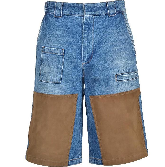 Blue Denim Men's Shorts w/Patches - Fendi