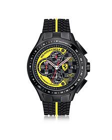 Race Day Herrenuhr mit Chronograph aus Edelstahl in schwarz und gelb mit Silikonarmband - Ferrari