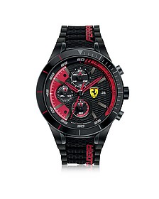 RedRev Evo Herren-Chronographenuhr aus Edelstahl in schwarz mit Silikonarmband - Ferrari
