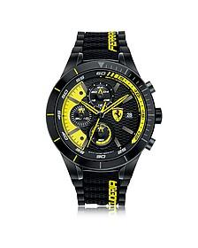 RedRev Evo Herren-Chronographenuhr aus Edelstahl in schwarz und gelb mit Silikonarmband - Ferrari