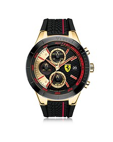 Red Rev Evo Herren-Chronographenuhr aus Edelstahl in gold und rot mit Silikonarmband - Ferrari