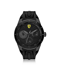 Scuderia Ferrari RedRev Black Stainless Steel Case and Silicone Strap Men's Chrono Watch - Ferrari