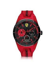 Red Rev T Herrenuhr aus Edelstahl in schwarz mit Silikonarmband in rot - Ferrari