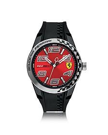 Red Rev T Herrenuhr aus Edelstahl in silber und Silikonarmband in schwarz - Ferrari