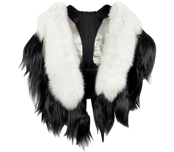 Bad Black Kite White and Black Fur Stole - Fearfur