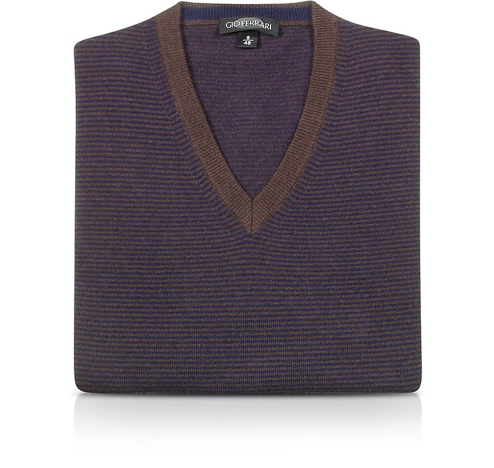 Men's Brown & Blue Striped Wool and Cashmere Sweater - Gio Ferrari