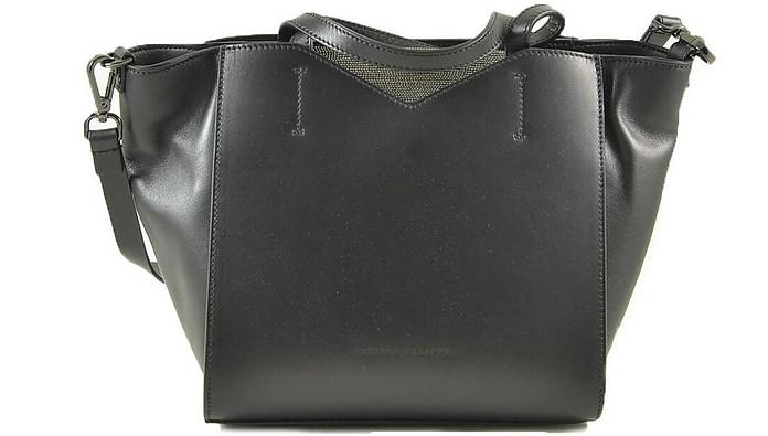 Black Leather Trapeze Shoulder Bag - Fabiana Filippi