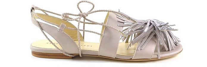 Light Beige Leather Tassels Flat Sandals - Fabiana Filippi