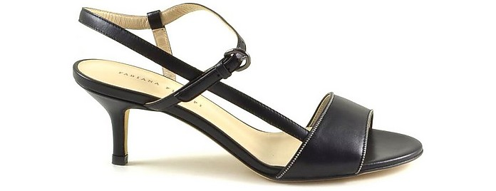 Black Leather Mid-Heel Sandals - Fabiana Filippi