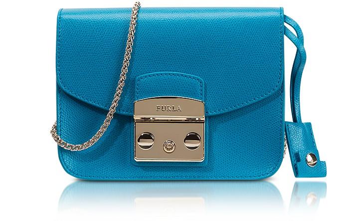 Metropolis Turquoise Leather Mini Crossbody Bag  - Furla