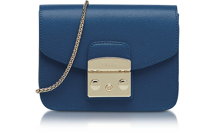 Metropolis Mini Blue Ginepro Leather Crossbody Bag - Furla