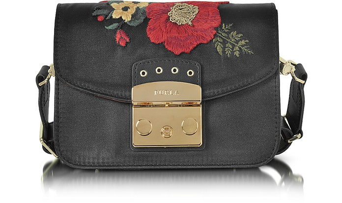Onyx Embroidered Satin Metropolis Floral Mini Crossbody Bag - Furla