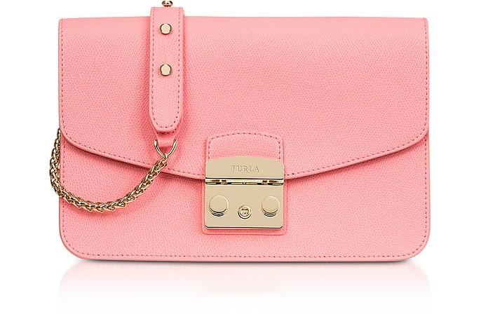 Rose Quartz Leather Metropolis Small Shoulder Bag - Furla
