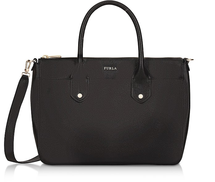 Onyx Saffiano Leather Mediterranea Medium Satchel Bag - Furla