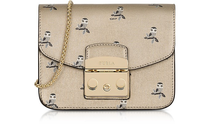 Toni Gold Mini Owl Printed Saffiano Leather Metropolis Mini Crossbody Bag - Furla