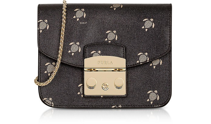Toni Onyx Mini Turtle Printed Saffiano Leather Metropolis Mini Crossbody Bag - Furla