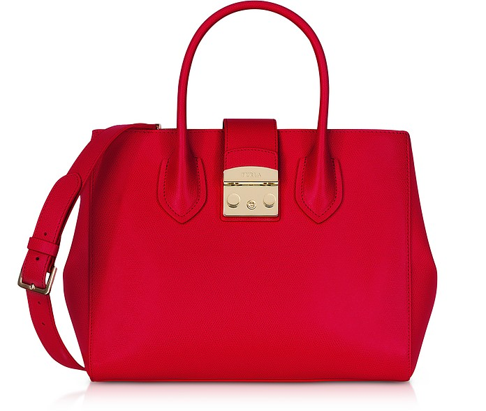 Ruby Leather Metropolis Medium Tote Bag  - Furla