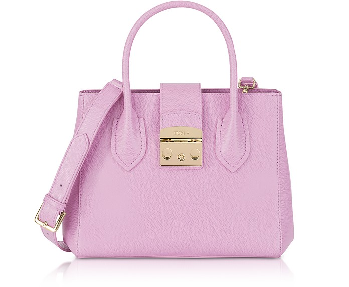 Glicine Leather Metropolis Small Tote Bag - Furla