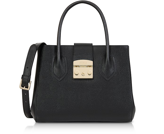 Onyx Leather Metropolis Small Tote Bag - Furla