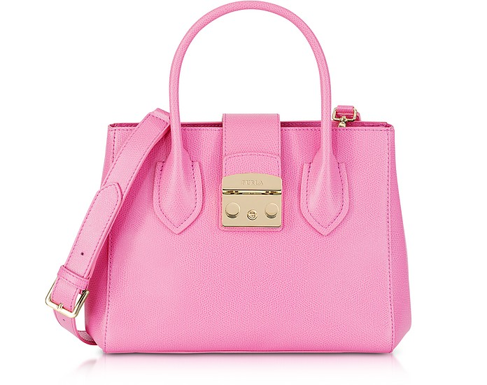 Orchid Leather Metropolis Small Tote Bag - Furla
