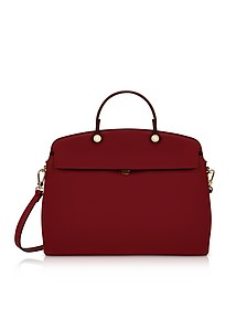 Cherry Leather My Piper Medium Top Handle Satchel Bag - Furla