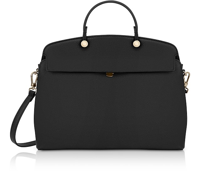 Onyx Leather My Piper Medium Top Handle Satchel Bag - Furla