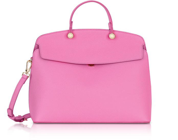 Orchid Leather My Piper Medium Top Handle Satchel Bag - Furla