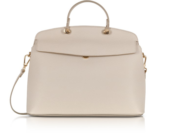Vanilla Leather My Piper Medium Top Handle Satchel Bag - Furla